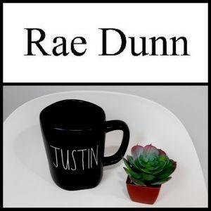 NEW Rae Dunn JUSTIN Name Black Ceramic Mug